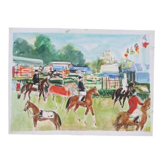 Vintage French Watercolor by Pierre Gaillardot For Sale