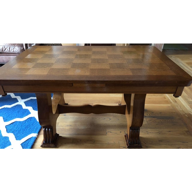 Oak French Provincial Parquet Top Dining Table With Draw