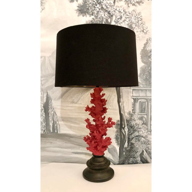 Pair of Vintage Red Faux Coral Branch Table Lamps. Impressive Coral Branches on a Wood Base. Black Shades Gilt Inside....