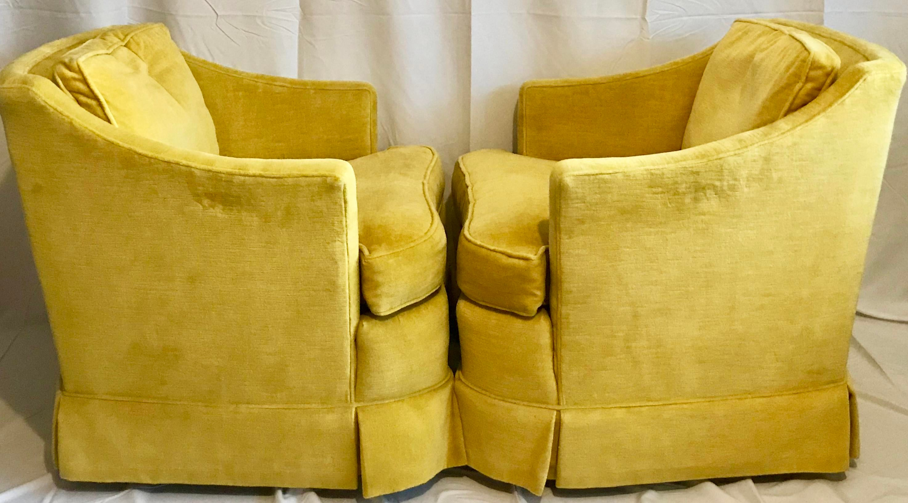Heritage Vintage Yellow Velvet Club Lounge Chairs   A Pair   Image 6 Of 8