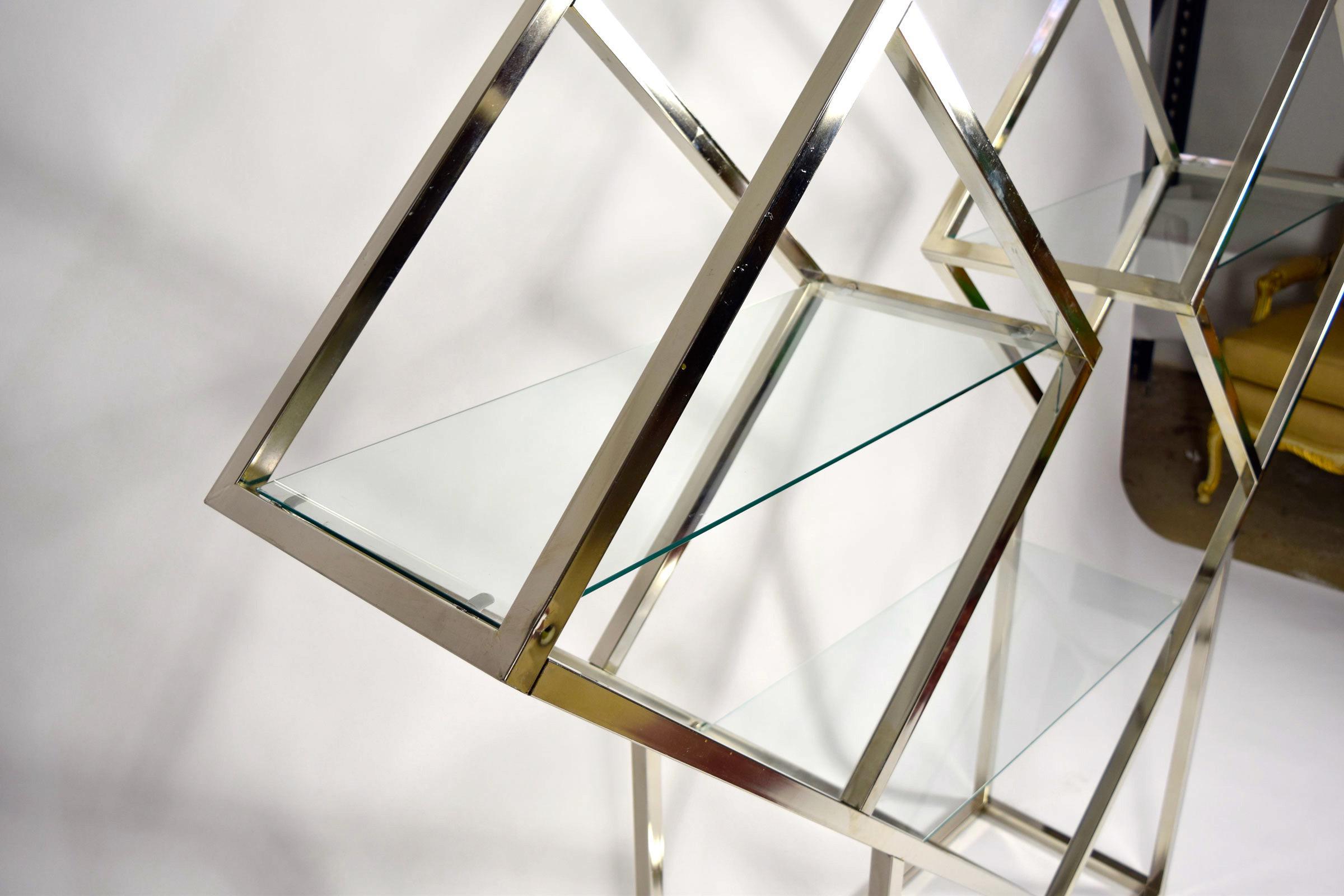 1970u0027s Diamond Shaped Etagere In Silver Finish   Image 7 ...