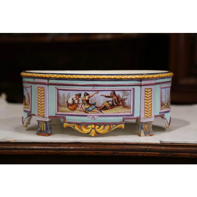 Early 20th Century Early 20th Century, French Hand Painted Ceramic Oval Jardinière Signed For Sale - Image 5 of 12