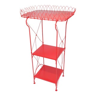 French Country Farmhouse Red Metal Shelf
