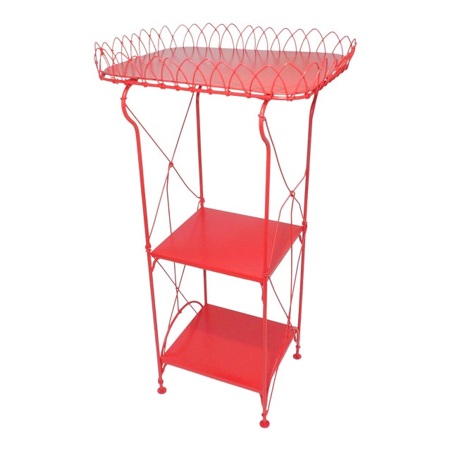 French Country Farmhouse Red Metal Shelf For Sale