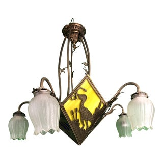 1920s Antique Early Art Deco Chandelier For Sale