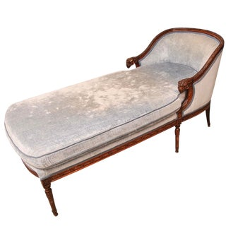 Late 19th Century French Hand-Carved Upholstered Chaise Lounge For Sale