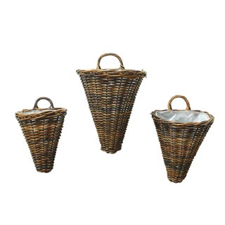 Rustic Woven Wall Baskets - Set of 3