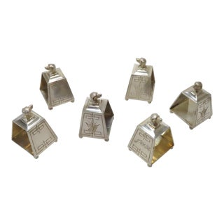 1880s Victorian Silverplate Dog Head Napkin Rings Set of 6 For Sale