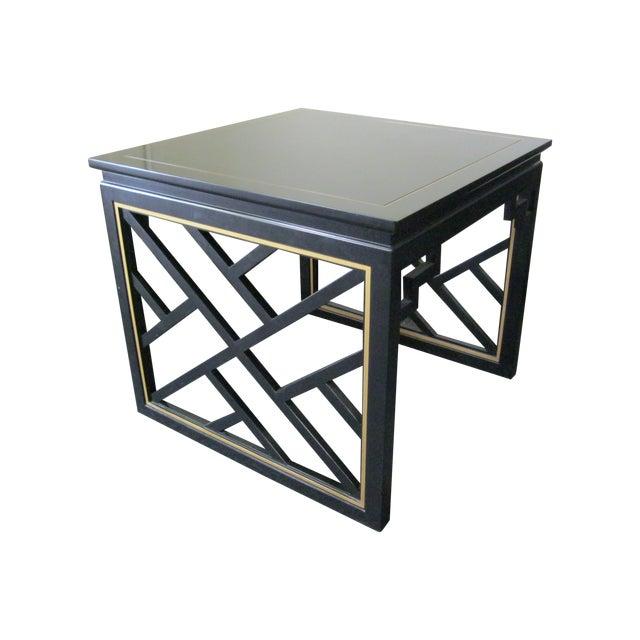 Dorothy Draper Kindel Square Trellis Lamp Table For Sale