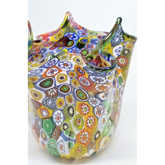 Metal Vintage Murano Glass Hankerchief Vase - Millifiori and Gold by Campanella- Signed - Italy Italian Palm Beach Boho Chic Mid Century Modern For Sale - Image 7 of 13