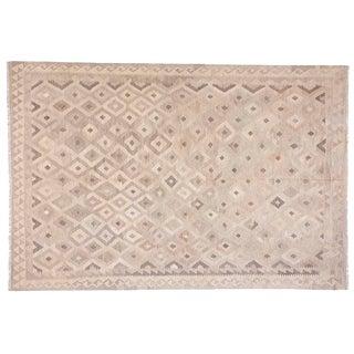 1990s Contemporary Geometric Coffee Wool Kilim For Sale