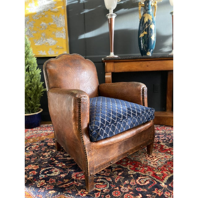 Brown 1930's Vintage Art Deco Leather Club Chairs - A Pair For Sale - Image 8 of 10