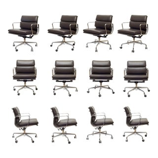 Eames Soft Pad Leather Office Management Chairs by Herman Miller For Sale