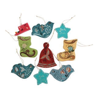 Rosemaled Scandinavian Folk Art Christmas Ornaments - Set of 9 For Sale