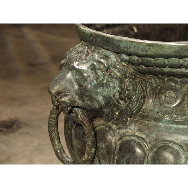 Large Antique Patinated Bronze Jardiniere From Italy, Circa 1890 For Sale - Image 11 of 13