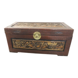 Large Vintage Hand-Carved Asian Large Cinnabar Lacquered Chest For Sale