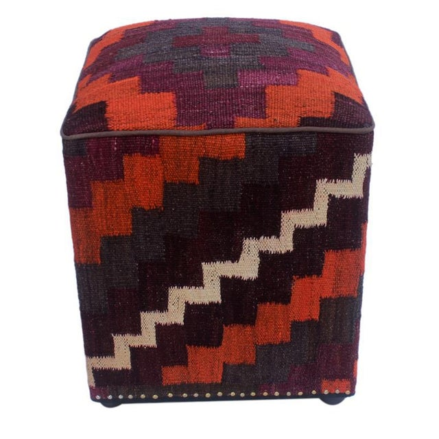 Arshs Dorian Purple/Orange Kilim Upholstered Handmade Ottoman For Sale - Image 4 of 8