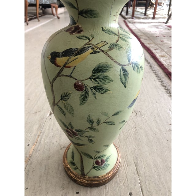 Bradburn Celadon Green Table Lamps With Birds and Foliage - a Pair For Sale - Image 11 of 13