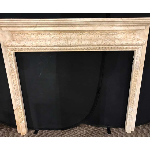 Swedish Painted and Distressed Decorated Fire Surround in Faux Marble Finish For Sale - Image 4 of 13