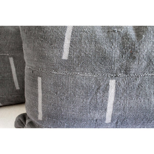 Vintage Mud Cloth Standard Sham Pillows in Gray Blue - a Pair For Sale - Image 4 of 7
