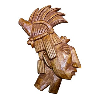 Vintage Mid-Century Jose Pinal Native American Male Wood Relief Sculpture For Sale