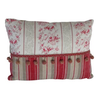 19th Century French Floral & Linen Ticking Stripe Pillow