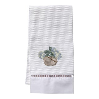 Cream Hydrangea Basket Guest Towel White Waffle Weave, Ladder Lace, Embroidered For Sale