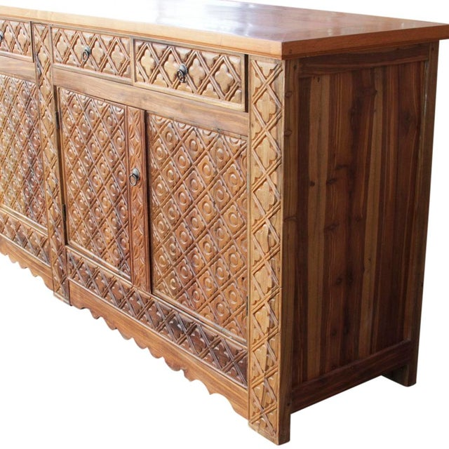 Diamond Carved Enfilade Teak Wood Buffet - Image 7 of 9