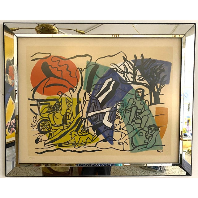 """Mid-Century Modern Leger Style Lithograph """"Partie De Campagne"""" (Country Party) For Sale - Image 9 of 9"""