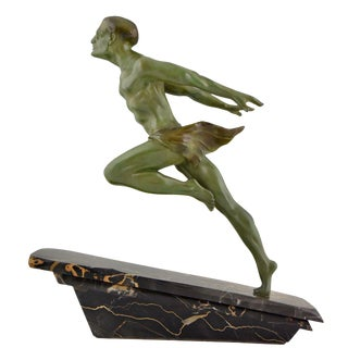 Art Deco Running Man Statue by L Valderi French For Sale