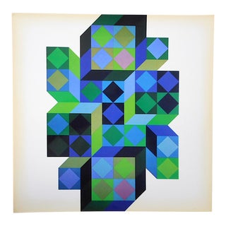 "Vintage Mid Century Abstract Op Art Heliogravure-Victor Vasarely-""Tridim-B"" For Sale"