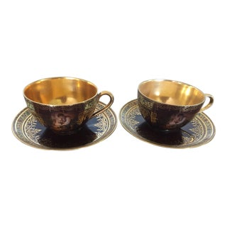 Antique Carlsbad Porcelain Demitasse Cups - A Pair For Sale