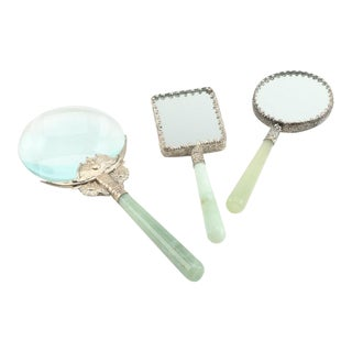 Chinese Bowenite Handled Magnifying Glass and Hand Held Mirrors - Set of 3 For Sale