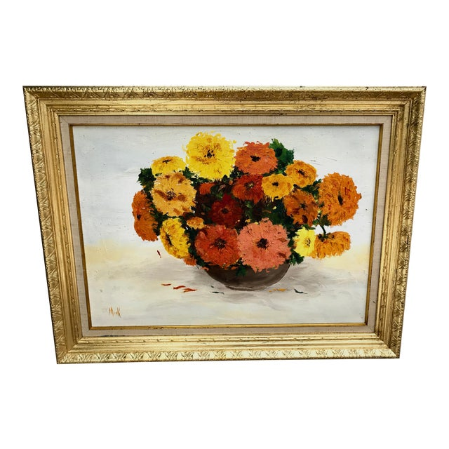 1970s Vintage Yellow and Orange Flowers Framed Painting For Sale