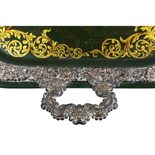Victorian Papier Mâché and Silver Plate Tray Table For Sale - Image 4 of 11