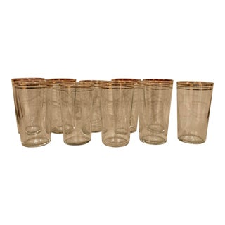 Early 20th Century Antique Gold-Banded Tumblers - Set of 10 For Sale