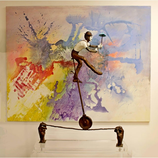 """For your consideration is a fantastic, bronze table sculpture of a balancing man, on a Lucite base, entitled """"Control,""""..."""