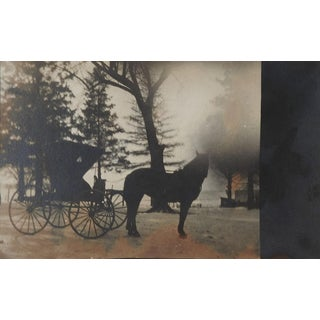 Antique Atmospheric & Dark Gothic Horse & Buggy Photograph For Sale