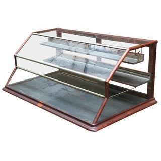 Walnut, Nickel, Glass and Leather General Store Showcase For Sale