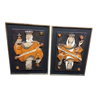 Mid-Century Modern King & Queen of Hearts Panels - A Pair For Sale