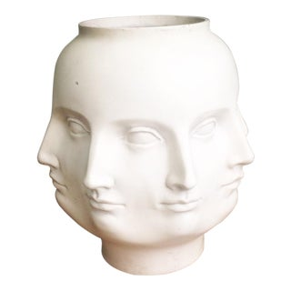 TMS Abstract Perpetual Face Style of Fornasetti White Vase