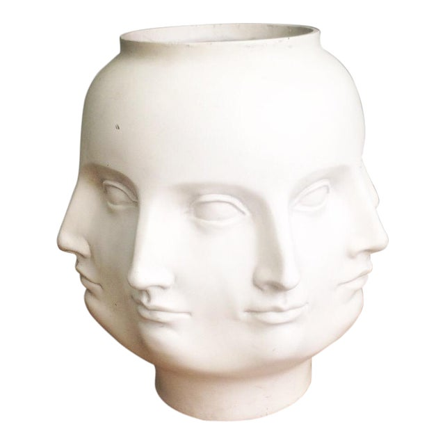 Tms Abstract Perpetual Face Style Of Fornasetti White Vase Chairish
