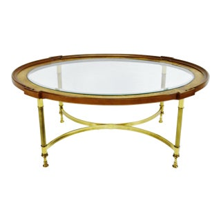 Mid Century Modern Oval Brandt Wood Brass & Glass Coffee Table For Sale