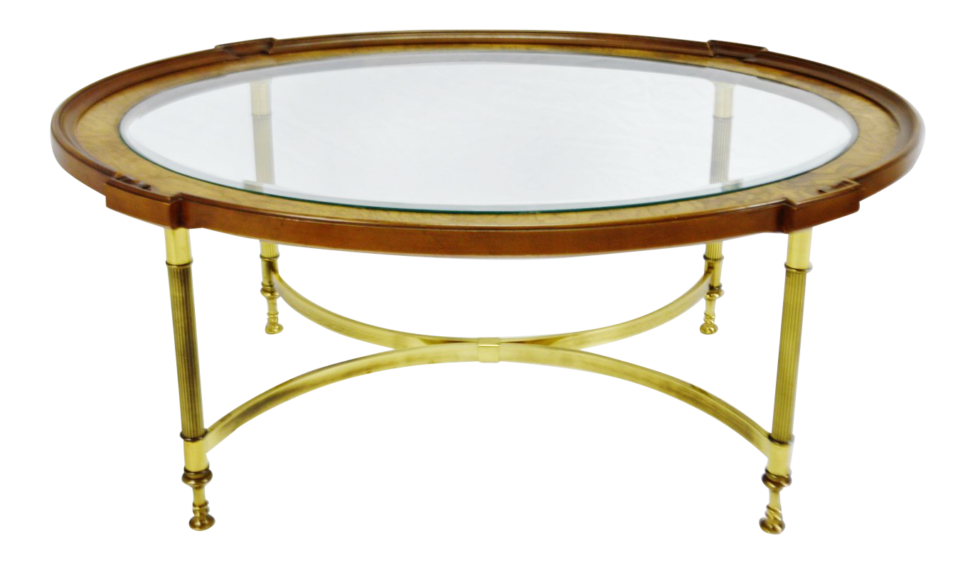 Mid Century Modern Oval Brandt Wood Brass U0026 Glass Coffee Table
