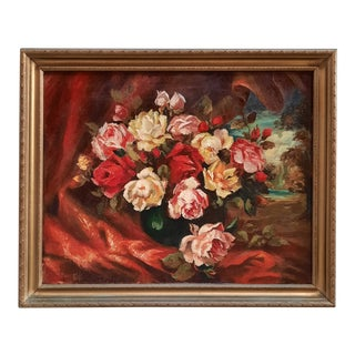 1945 Red Roses Painting by Dessily For Sale