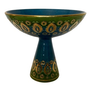 Mid Century Bitossi Blue Green Gold Italian Pottery Compote For Sale