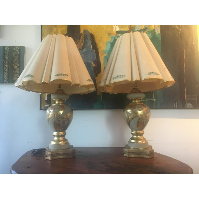 Mid-Century Hollywood Regency Gilt Lamps - A pair - Image 10 of 11