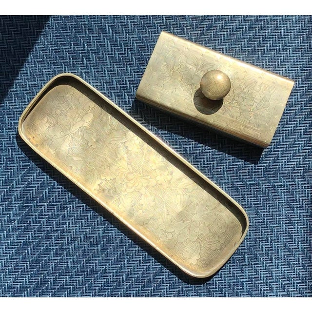 Vintage Embossed Brass & Wood Ink Rocker / Blotter and Pen Tray. Good vintage condition. I gave the brass a quick polish...