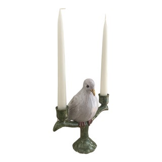 Italian Signed Faience White Dove Double Candleholder For Sale