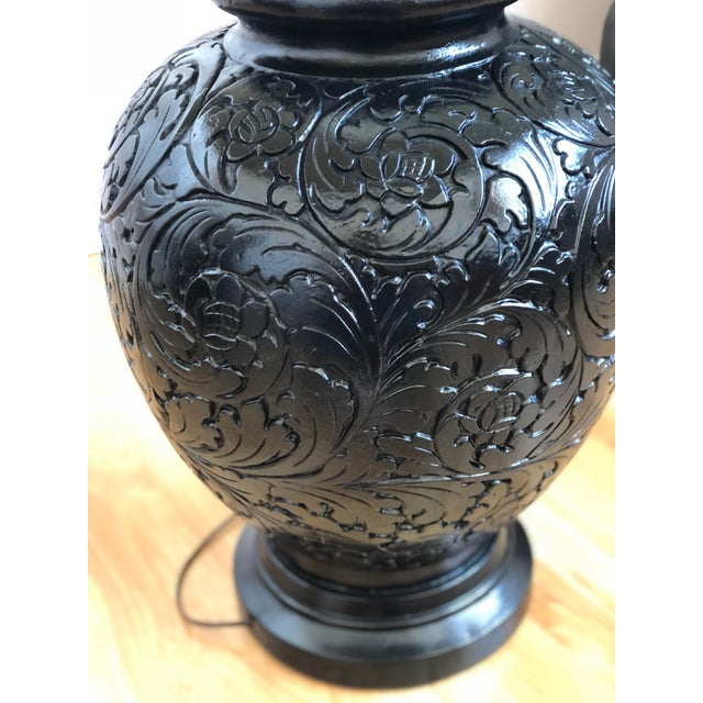 Ceramic Stunning Pair of Gloss Black, Round Table Lamps With Carved Relief Design For Sale - Image 7 of 11